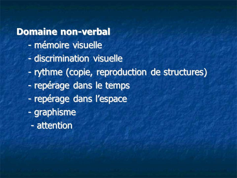 Domaine non-verbal - mémoire visuelle. - discrimination visuelle. - rythme (copie, reproduction de structures)