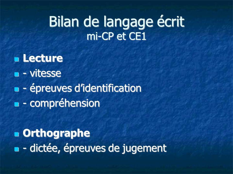 Bilan de langage écrit mi-CP et CE1