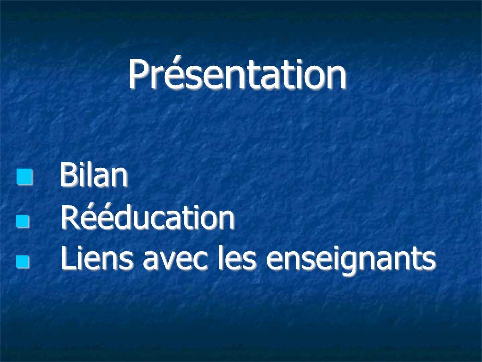 Présentation Bilan Rééducation Liens avec les enseignants