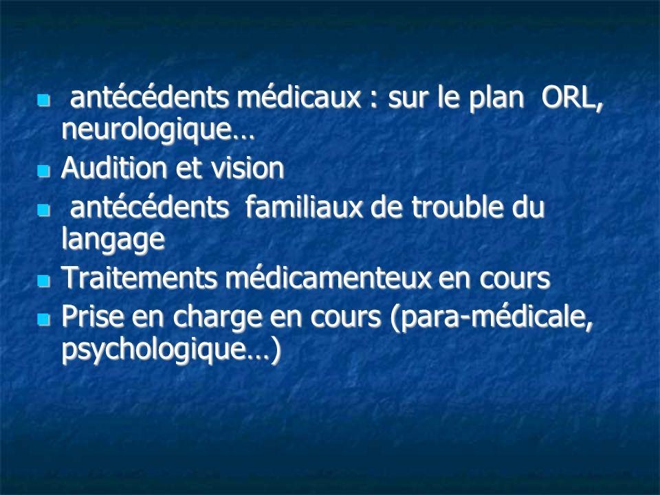 antécédents médicaux : sur le plan ORL, neurologique…