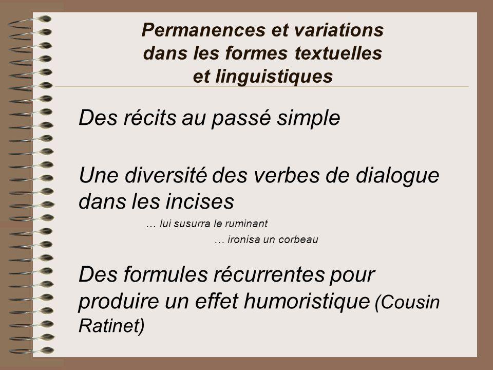Permanences et variations dans les formes textuelles et linguistiques