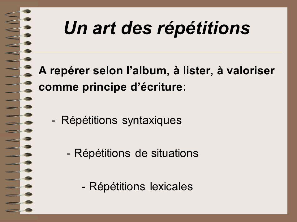 Un art des répétitions A repérer selon l'album, à lister, à valoriser