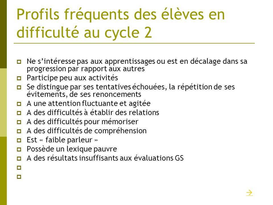 Profils fréquents des élèves en difficulté au cycle 2