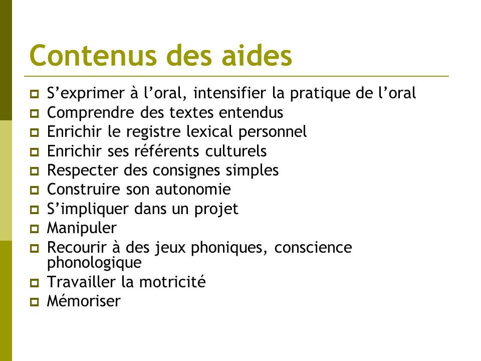 Contenus des aides S'exprimer à l'oral, intensifier la pratique de l'oral. Comprendre des textes entendus.