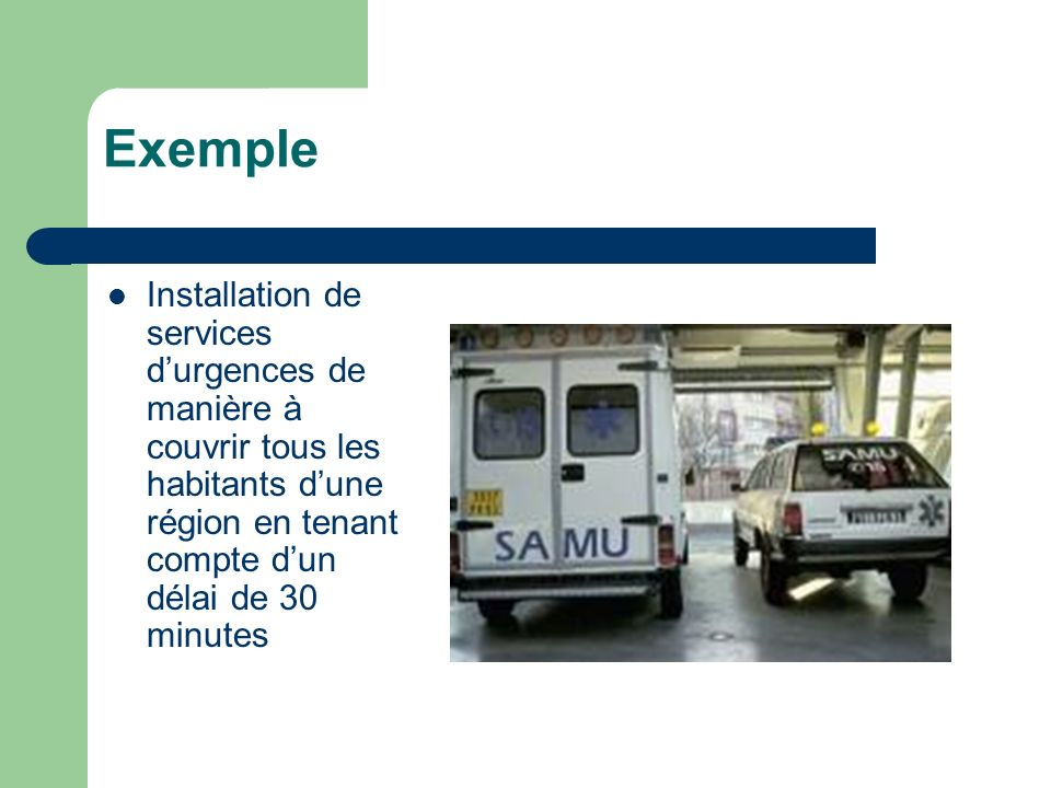 Exemple Installation de services d'urgences de manière à couvrir tous les habitants d'une région en tenant compte d'un délai de 30 minutes.