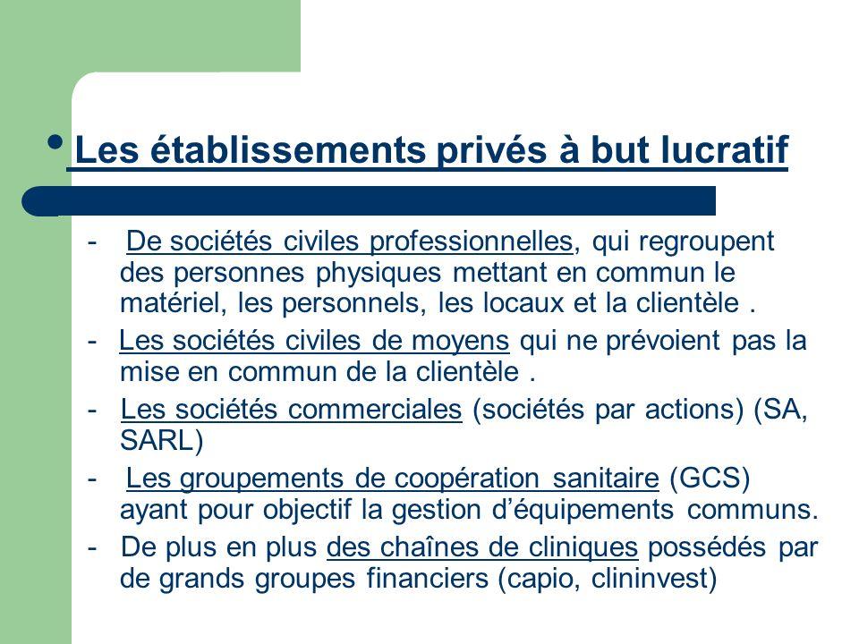 Les établissements privés à but lucratif