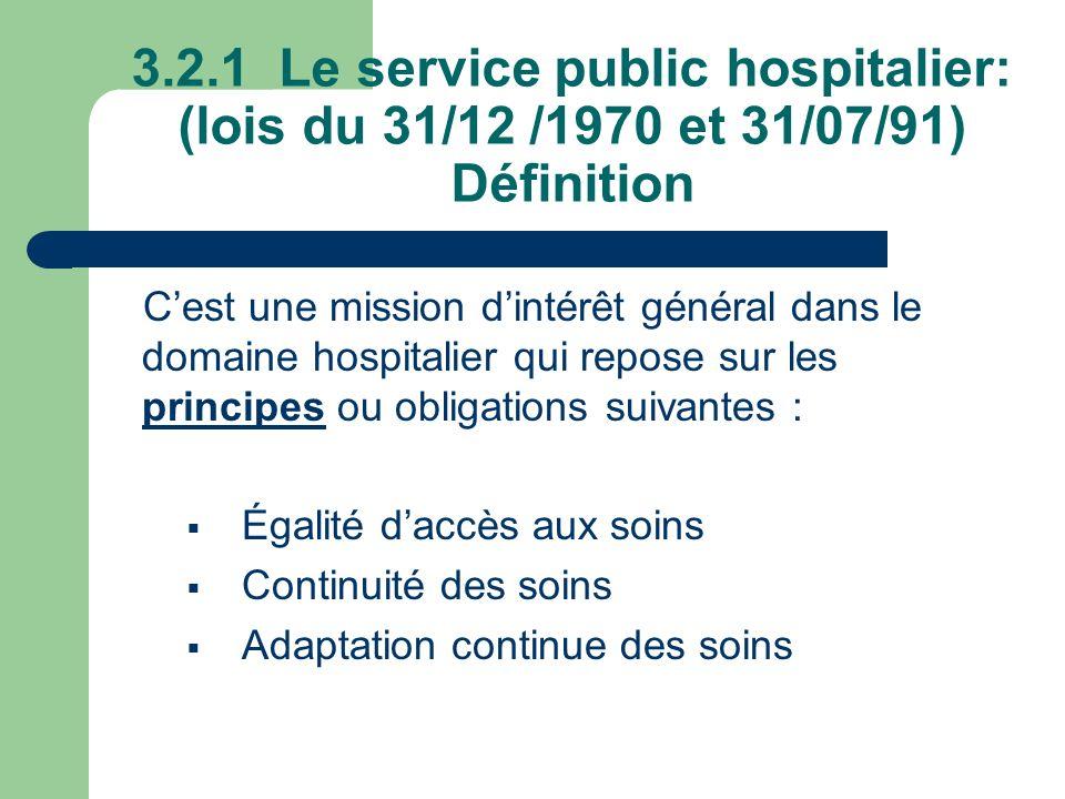 3.2.1 Le service public hospitalier: (lois du 31/12 /1970 et 31/07/91) Définition
