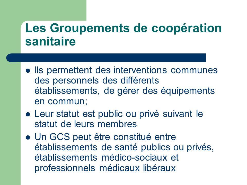 Les Groupements de coopération sanitaire