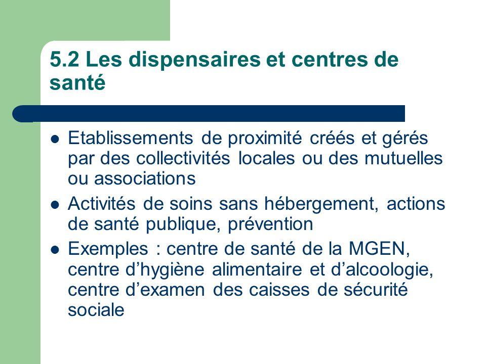 5.2 Les dispensaires et centres de santé