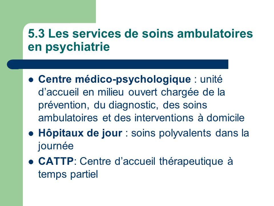 5.3 Les services de soins ambulatoires en psychiatrie
