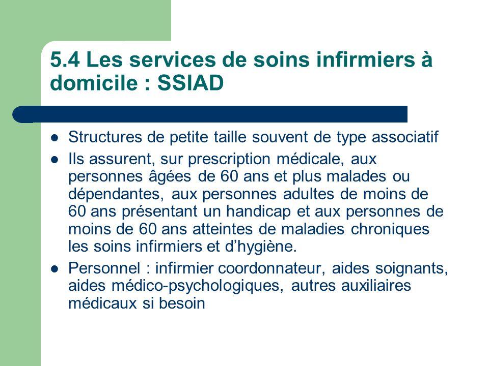 5.4 Les services de soins infirmiers à domicile : SSIAD