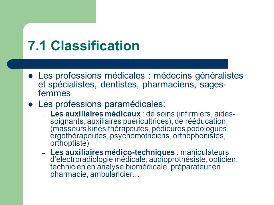 7.1 ClassificationLes professions médicales : médecins généralistes et spécialistes, dentistes, pharmaciens, sages-femmes.