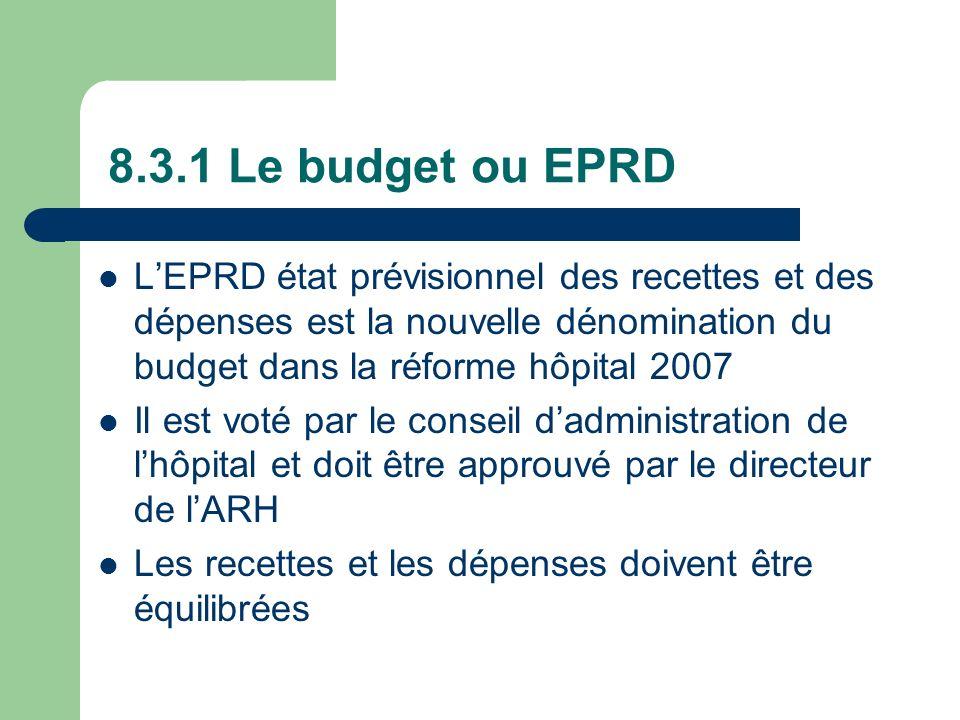 8.3.1 Le budget ou EPRD L'EPRD état prévisionnel des recettes et des dépenses est la nouvelle dénomination du budget dans la réforme hôpital 2007.
