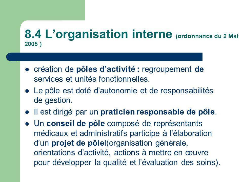 8.4 L'organisation interne (ordonnance du 2 Mai 2005 )