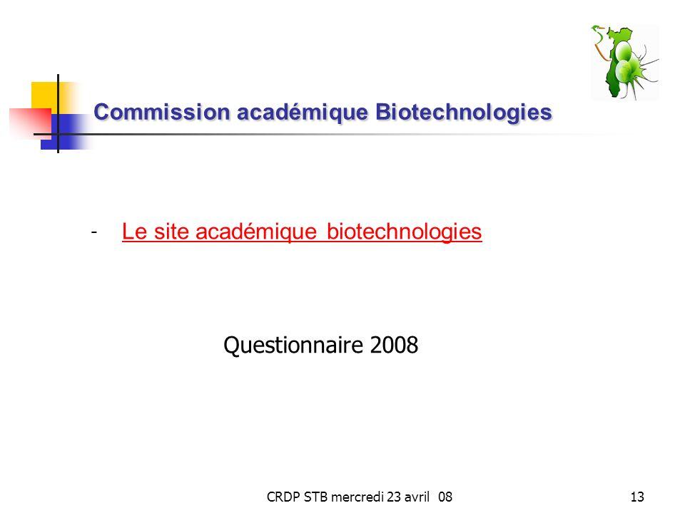 Commission académique Biotechnologies