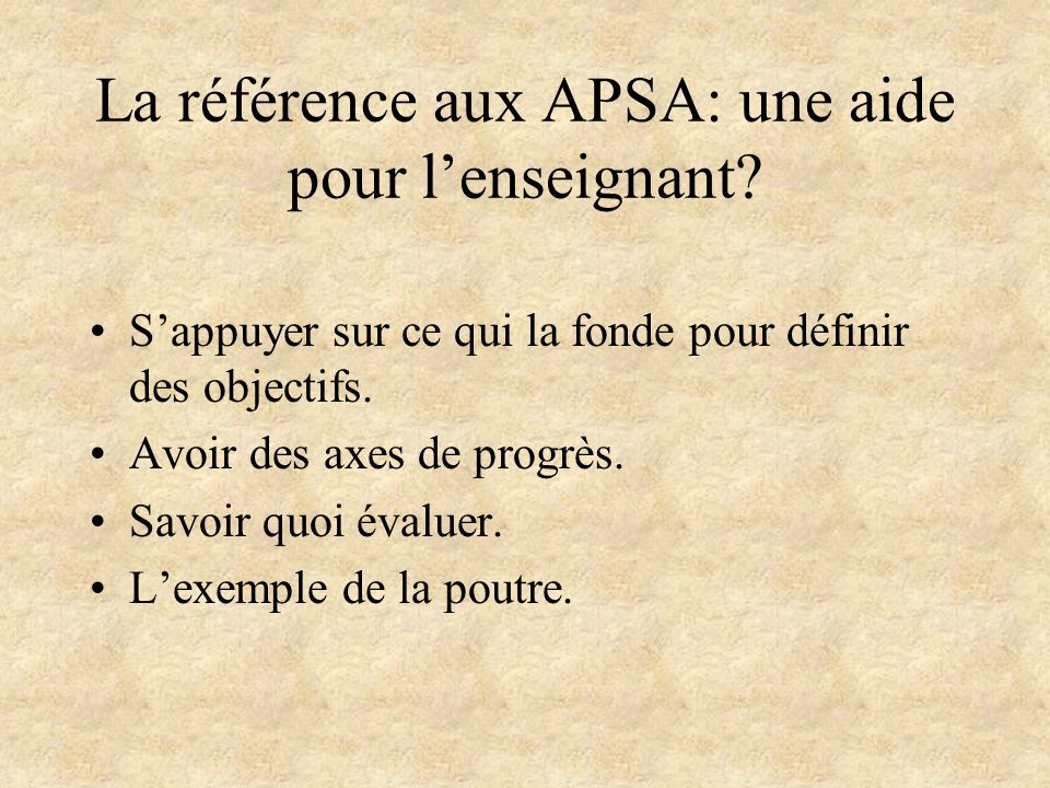 La référence aux APSA: une aide pour l'enseignant