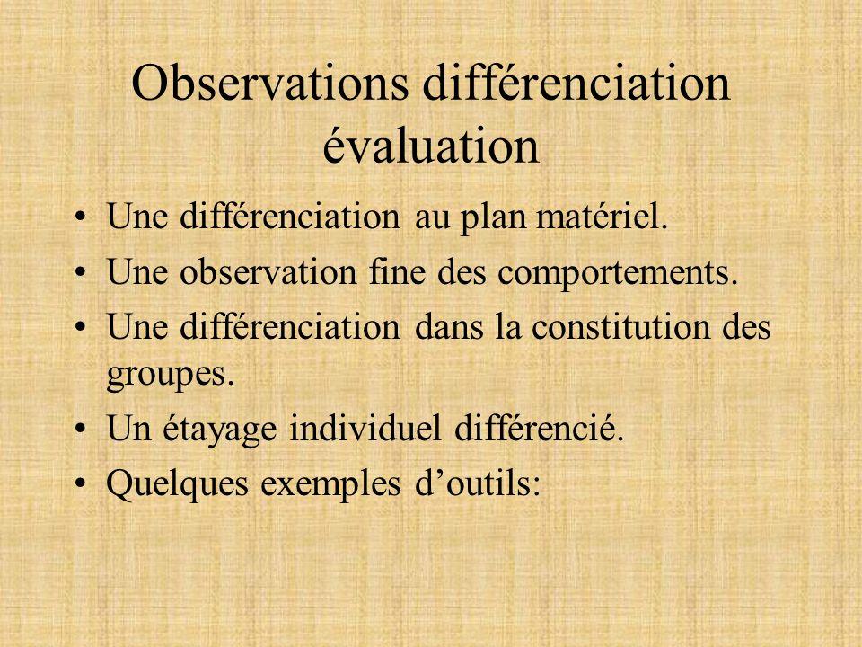 Observations différenciation évaluation