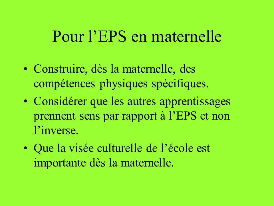 Pour l'EPS en maternelle
