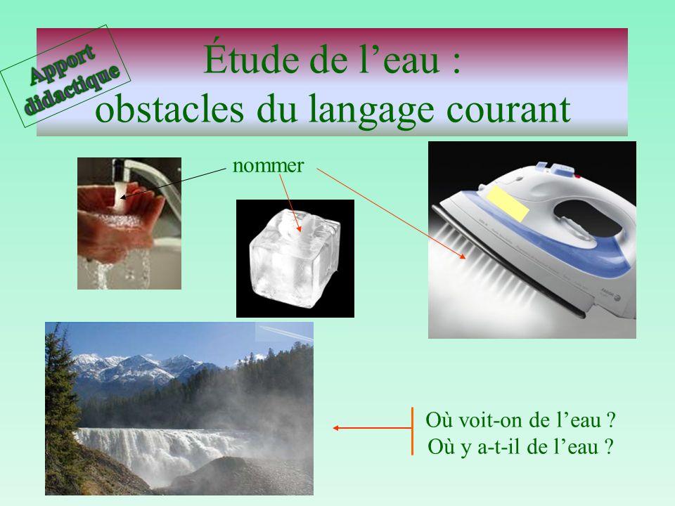 Étude de l'eau : obstacles du langage courant
