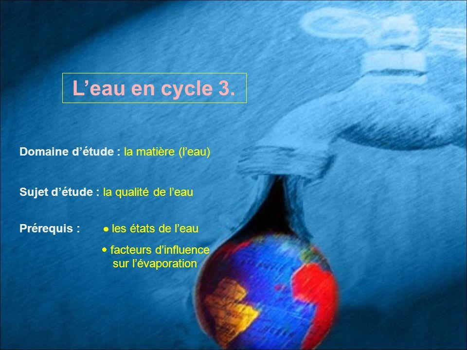 L'eau en cycle 3. Domaine d'étude : la matière (l'eau)