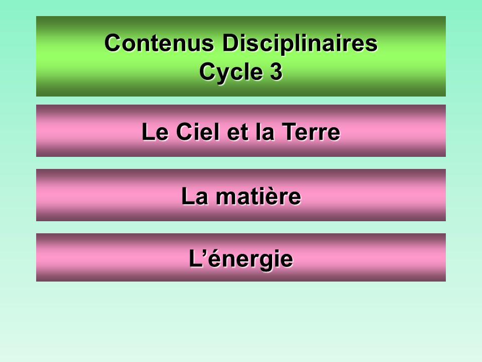 Contenus Disciplinaires Cycle 3