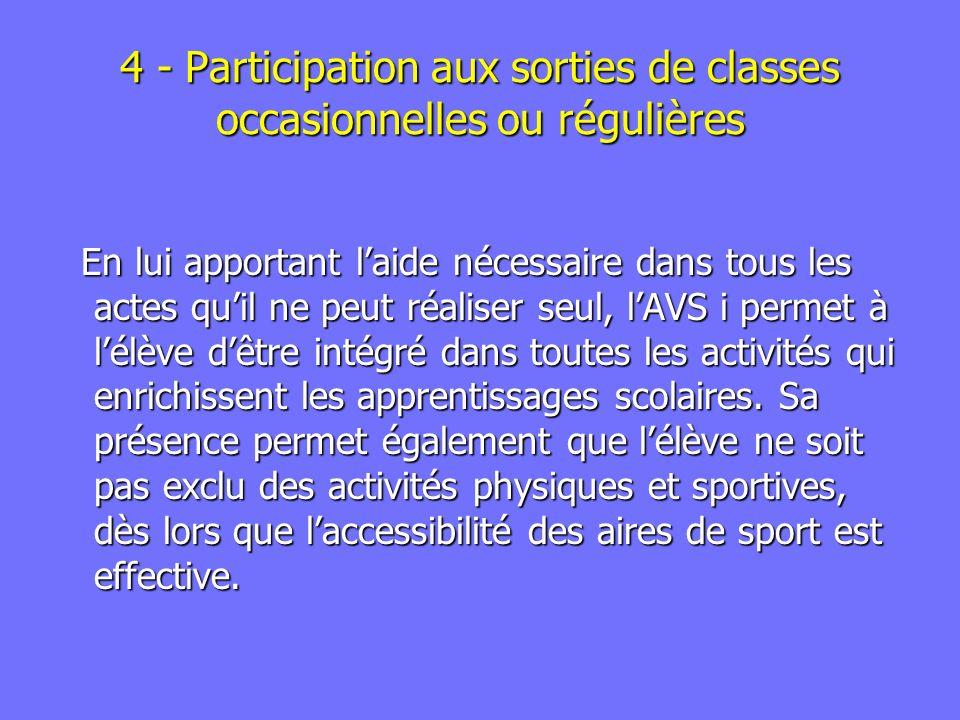 4 - Participation aux sorties de classes occasionnelles ou régulières