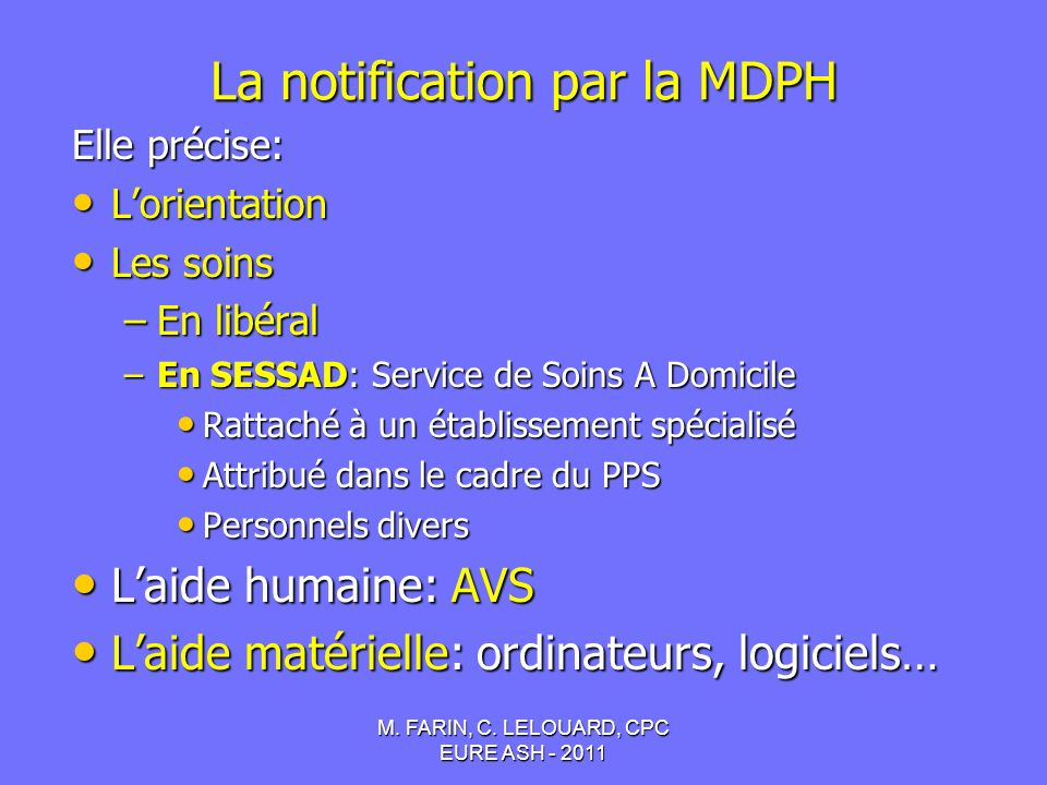 La notification par la MDPH