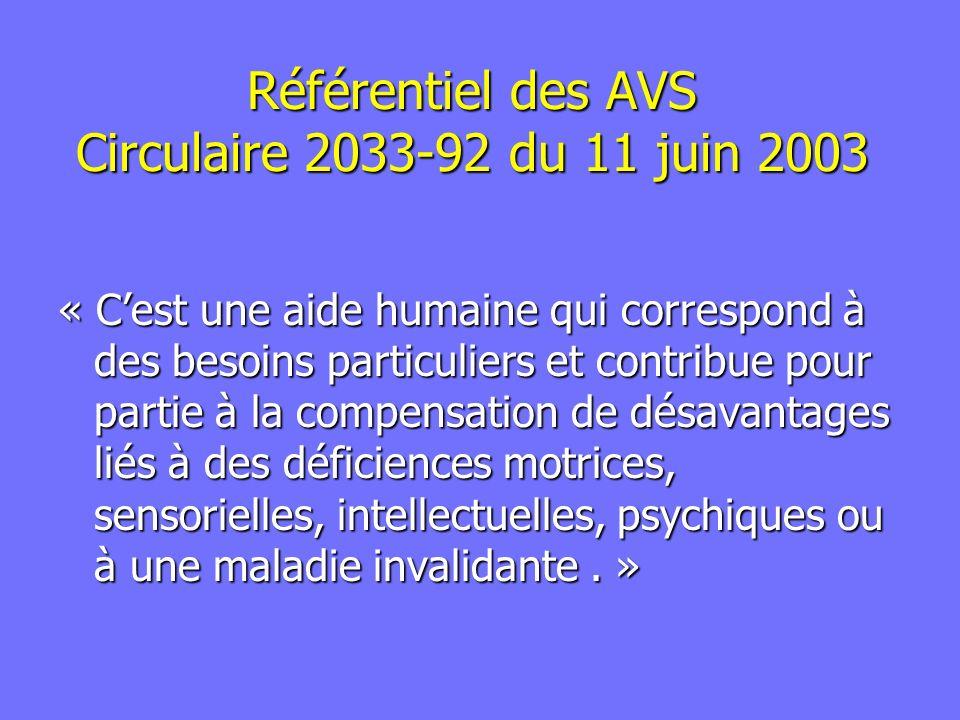 Référentiel des AVS Circulaire 2033-92 du 11 juin 2003