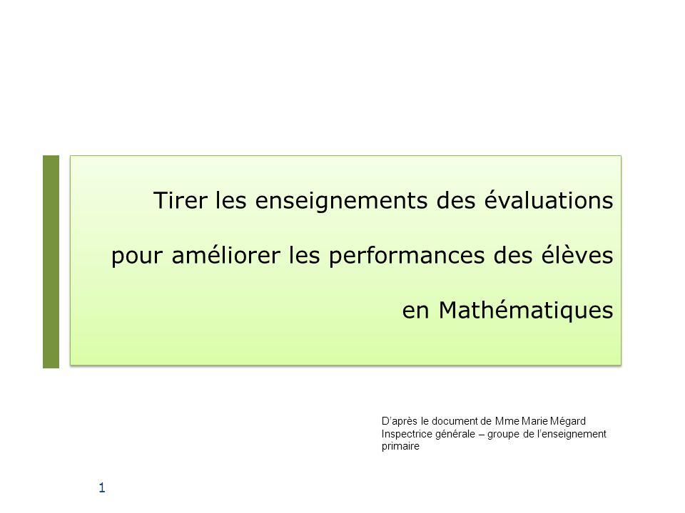 Tirer les enseignements des évaluations pour améliorer les performances des élèves en Mathématiques