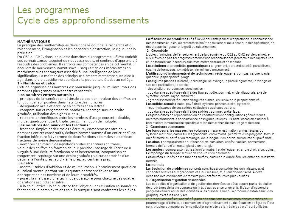 Les programmes Cycle des approfondissements