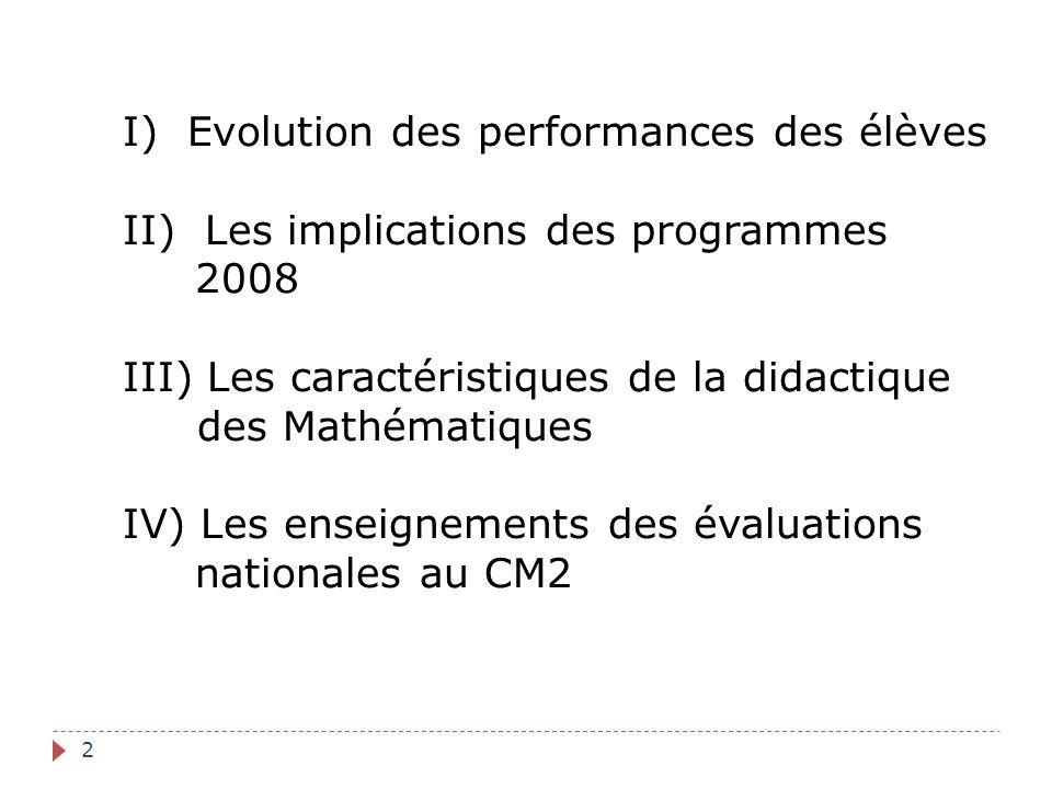 I) Evolution des performances des élèves II) Les implications des programmes 2008 III) Les caractéristiques de la didactique des Mathématiques IV) Les enseignements des évaluations nationales au CM2