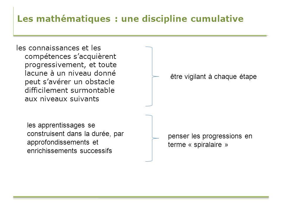 Les mathématiques : une discipline cumulative