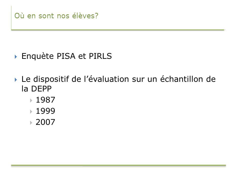 Le dispositif de l'évaluation sur un échantillon de la DEPP 1987 1999