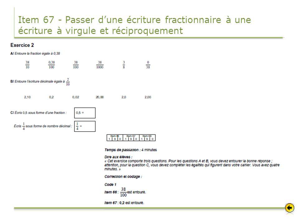 Item 67 - Passer d'une écriture fractionnaire à une écriture à virgule et réciproquement