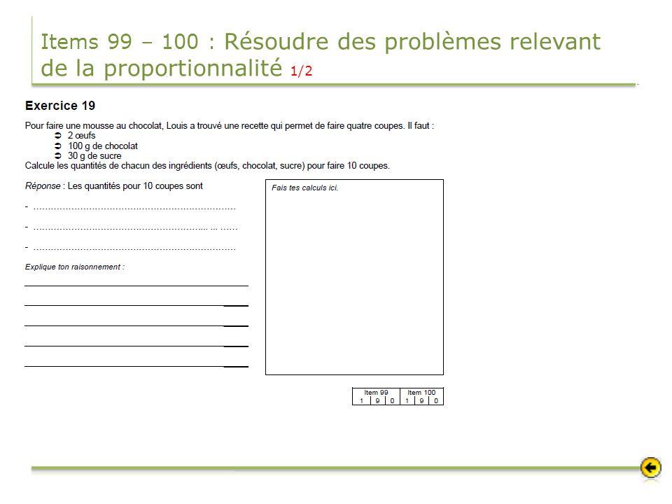Items 99 – 100 : Résoudre des problèmes relevant de la proportionnalité 1/2