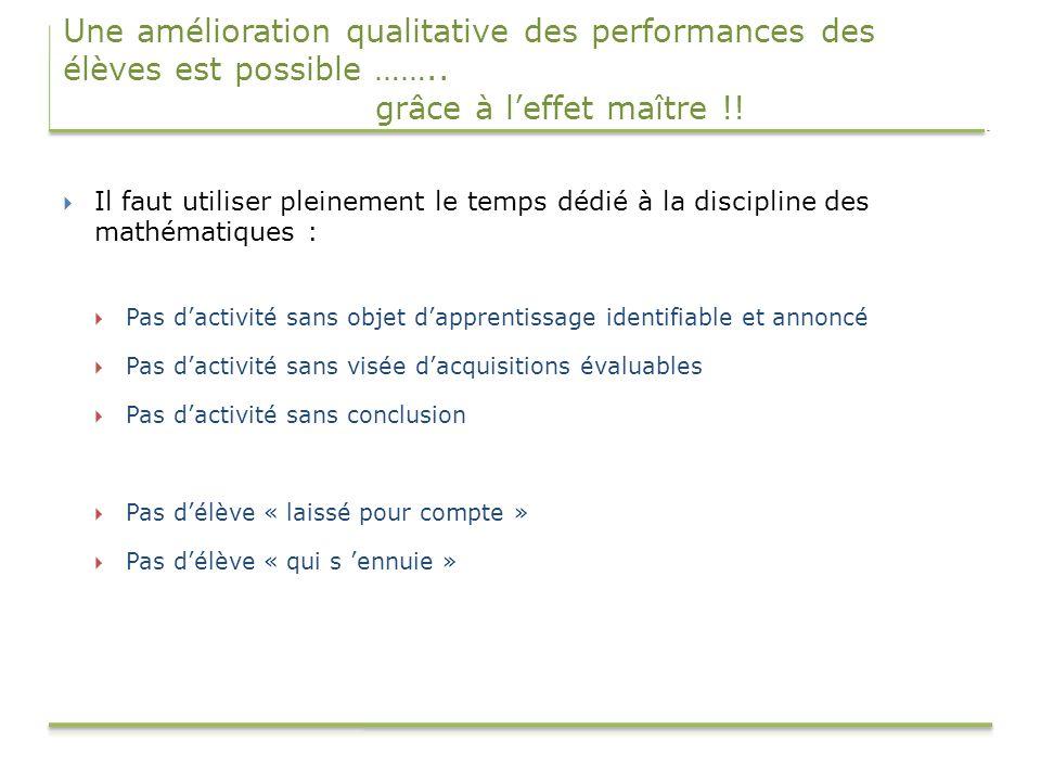 Une amélioration qualitative des performances des élèves est possible …….. grâce à l'effet maître !!