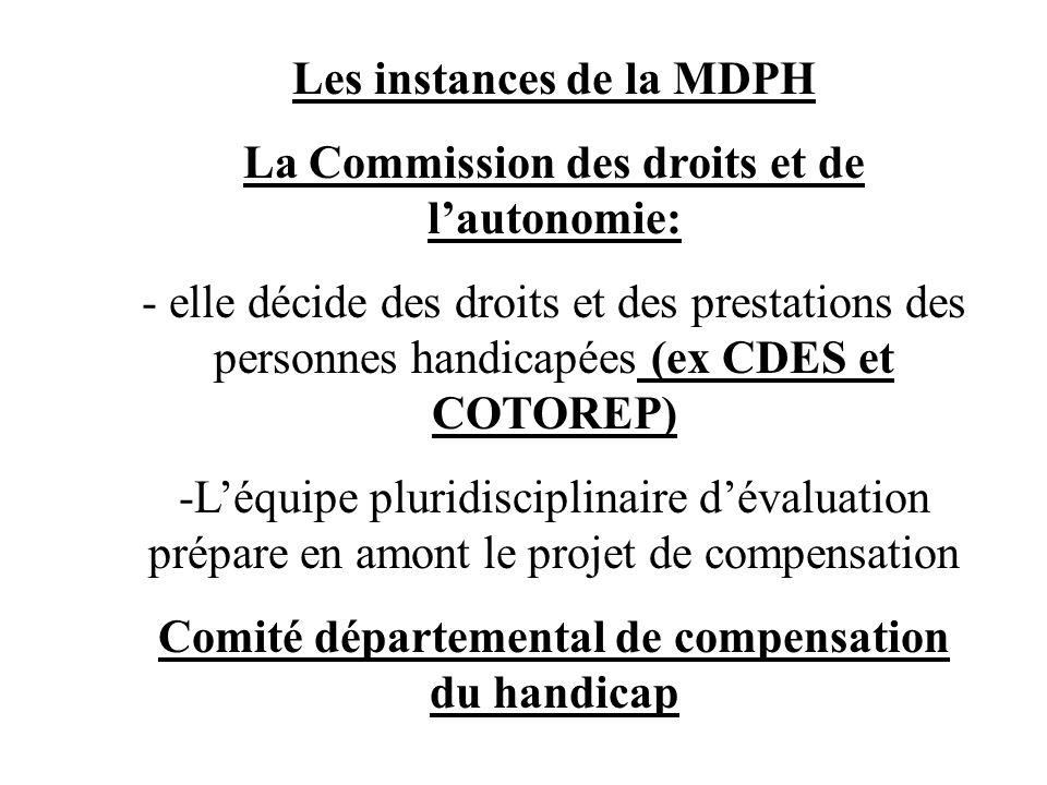 Les instances de la MDPH La Commission des droits et de l'autonomie: