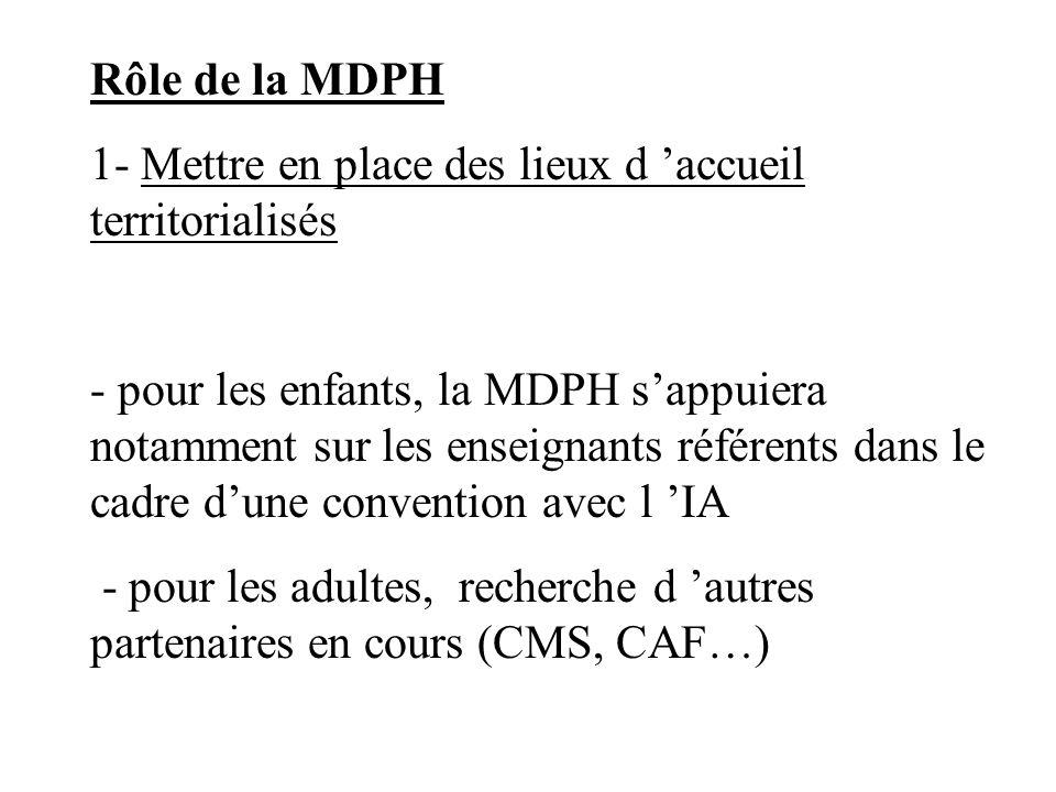 Rôle de la MDPH1- Mettre en place des lieux d 'accueil territorialisés.