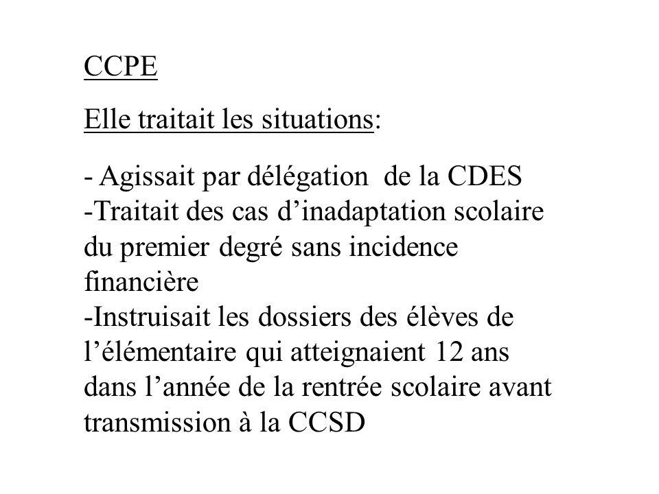 CCPE Elle traitait les situations: - Agissait par délégation de la CDES.
