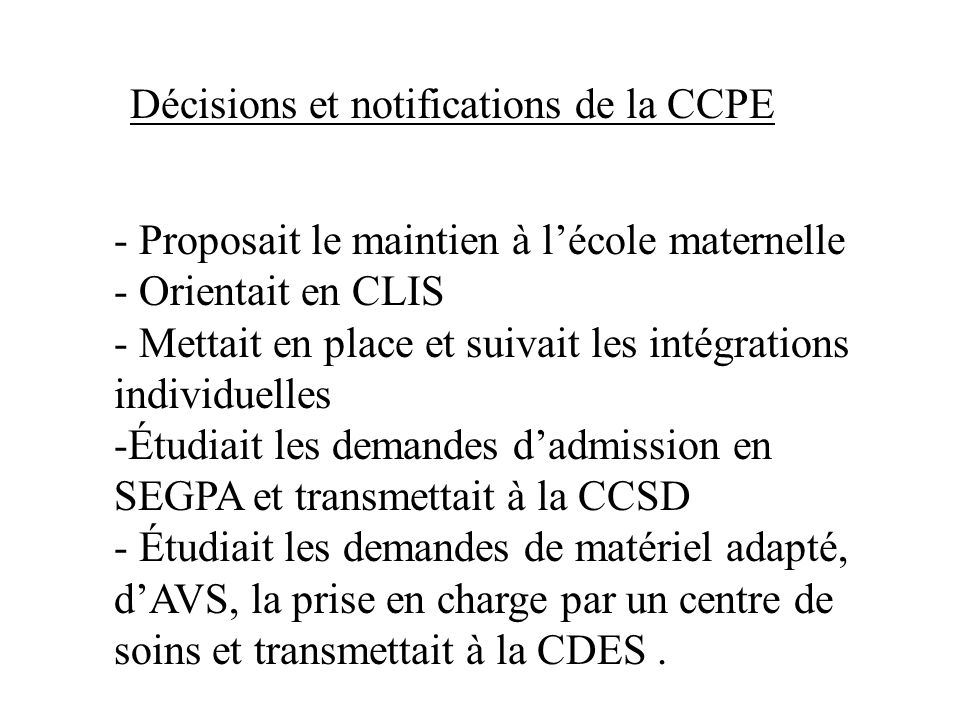 Décisions et notifications de la CCPE
