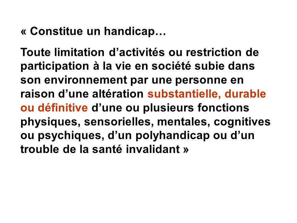 « Constitue un handicap…