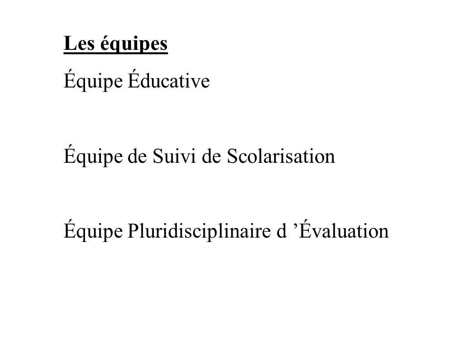 Les équipes Équipe Éducative. Équipe de Suivi de Scolarisation.