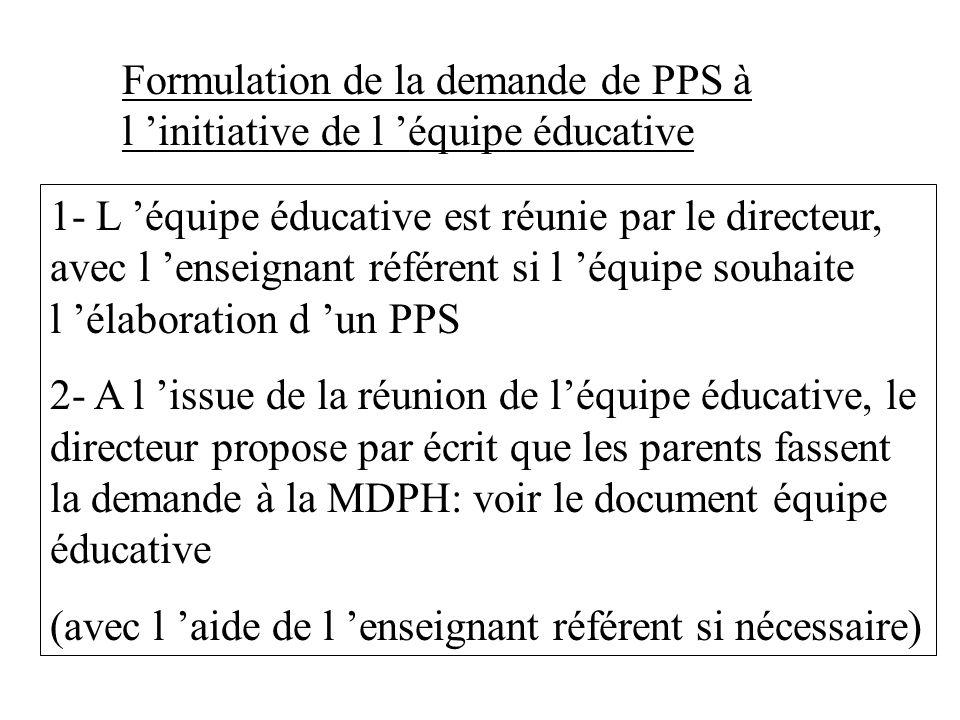Formulation de la demande de PPS à l 'initiative de l 'équipe éducative