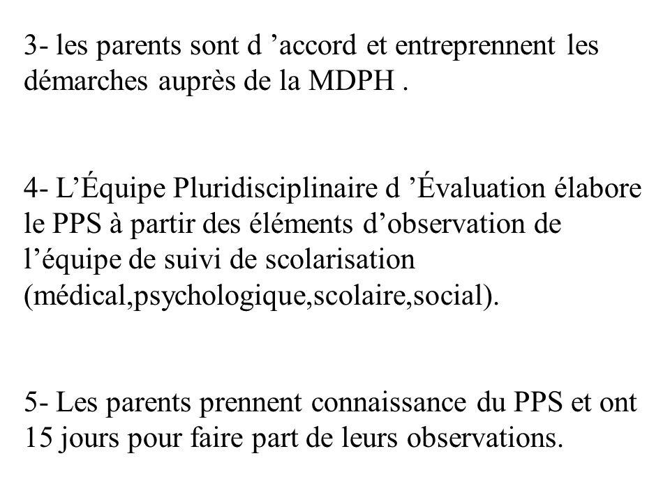3- les parents sont d 'accord et entreprennent les démarches auprès de la MDPH .