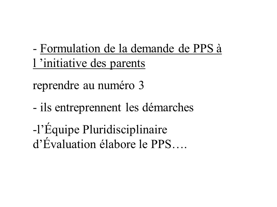 - Formulation de la demande de PPS à l 'initiative des parents