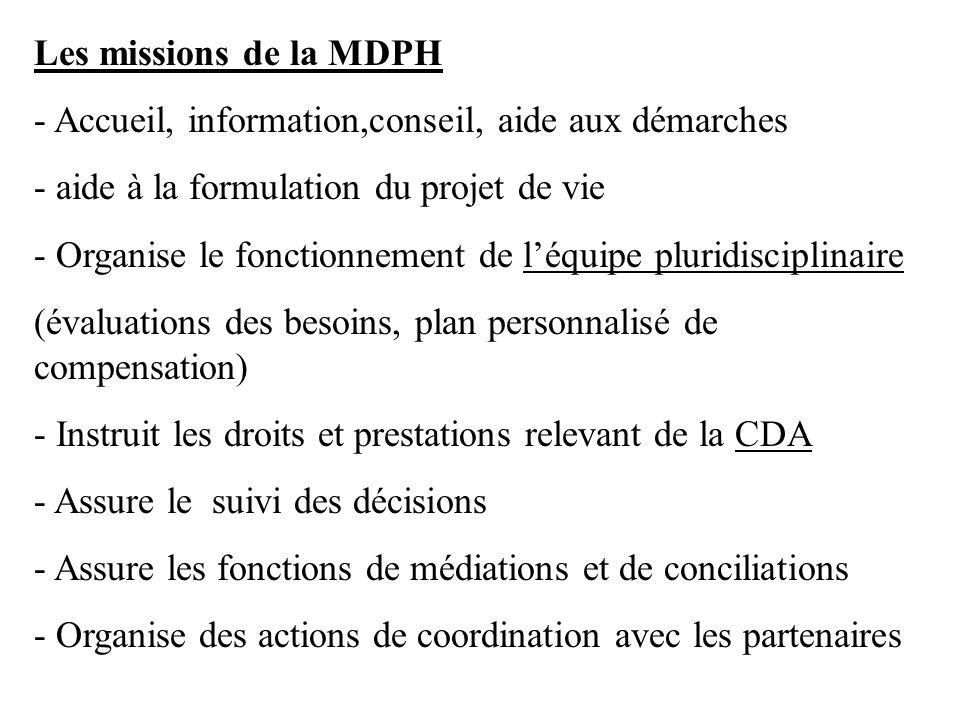 Les missions de la MDPH - Accueil, information,conseil, aide aux démarches. - aide à la formulation du projet de vie.