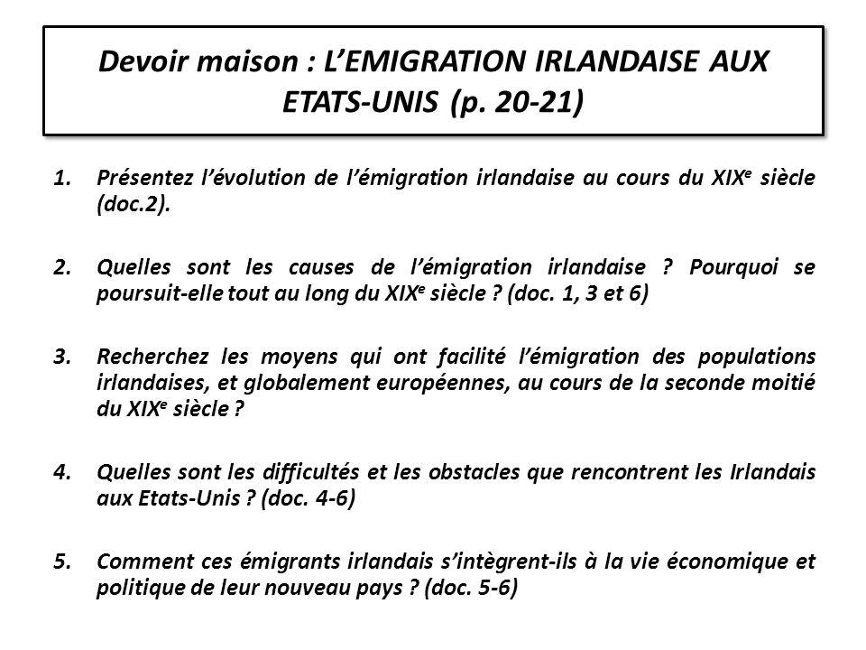 Devoir maison : L'EMIGRATION IRLANDAISE AUX ETATS-UNIS (p. 20-21)
