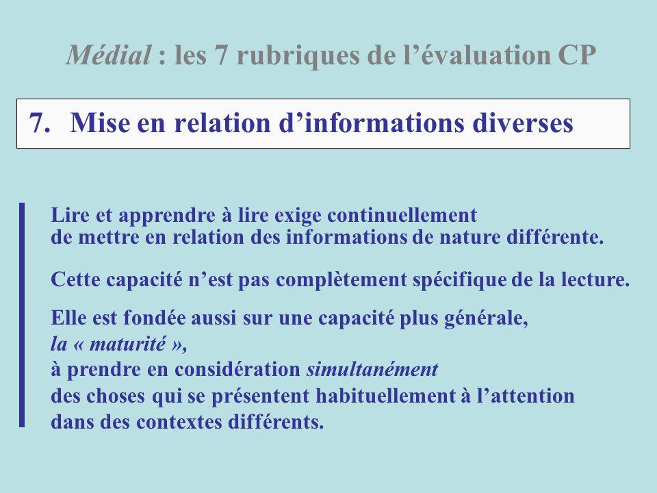 7. Mise en relation d'informations diverses