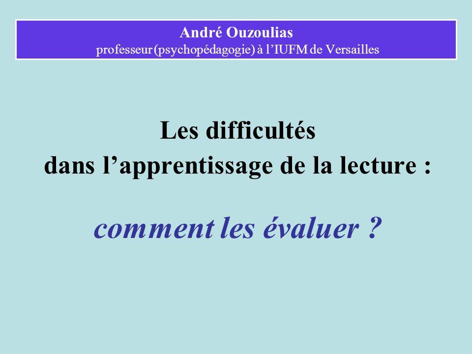 André Ouzoulias professeur (psychopédagogie) à l'IUFM de Versailles