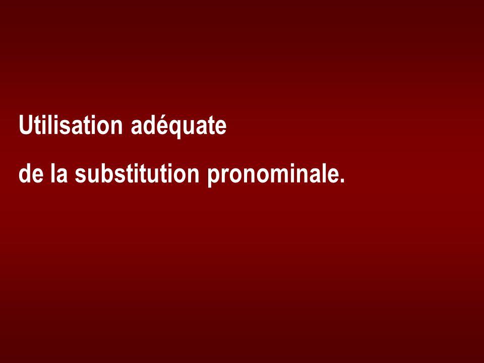 Utilisation adéquate de la substitution pronominale.